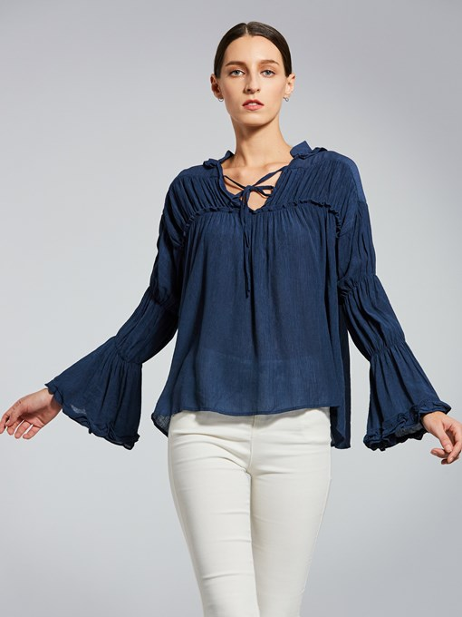 V-Neck Lace-Up Plain Pullover Women's Blouse