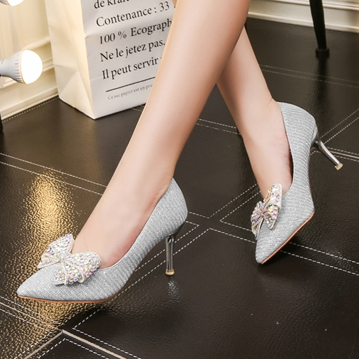 Rhinestone Bow High Heels Shoes for Bride