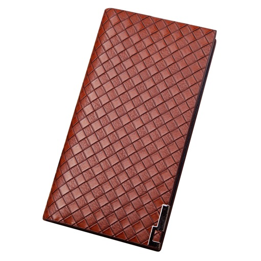 Long Type Quilted Lining Pattern Men's Wallet