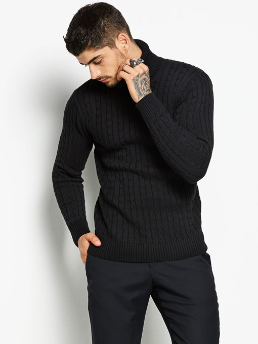 Turtleneck Solid Color Plain Slim Knit Men's Sweater