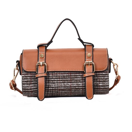 Casual Belt-Decorated Plaid Women Handbag