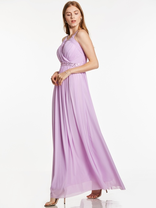 Straps Pleats Beaded Ankle-Length Evening Dress