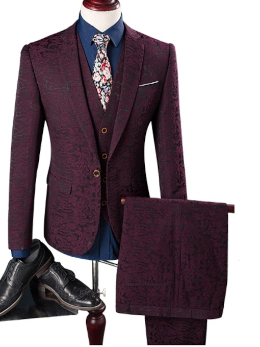 Notched Collar Burgundy Slim Fit Plain Men's Dress Suit