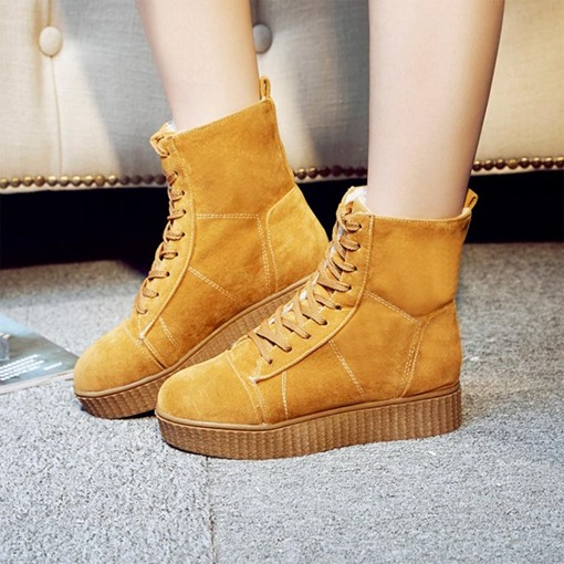 Flat With Lace Up Platform Wool Warn Snow Boots for Women