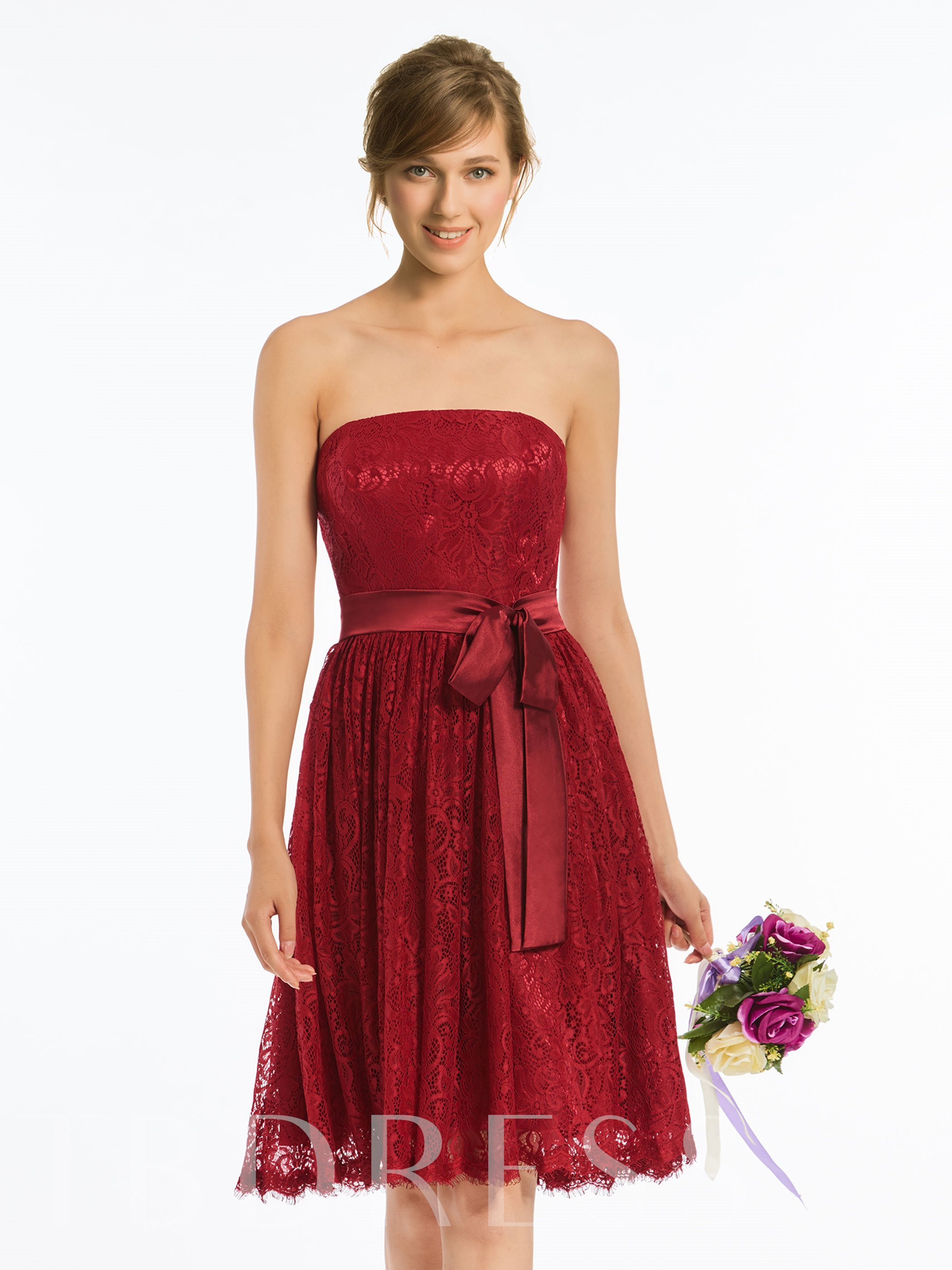 Image of Strapless A-Line Knee-Length Lace Bridesmaid Dress