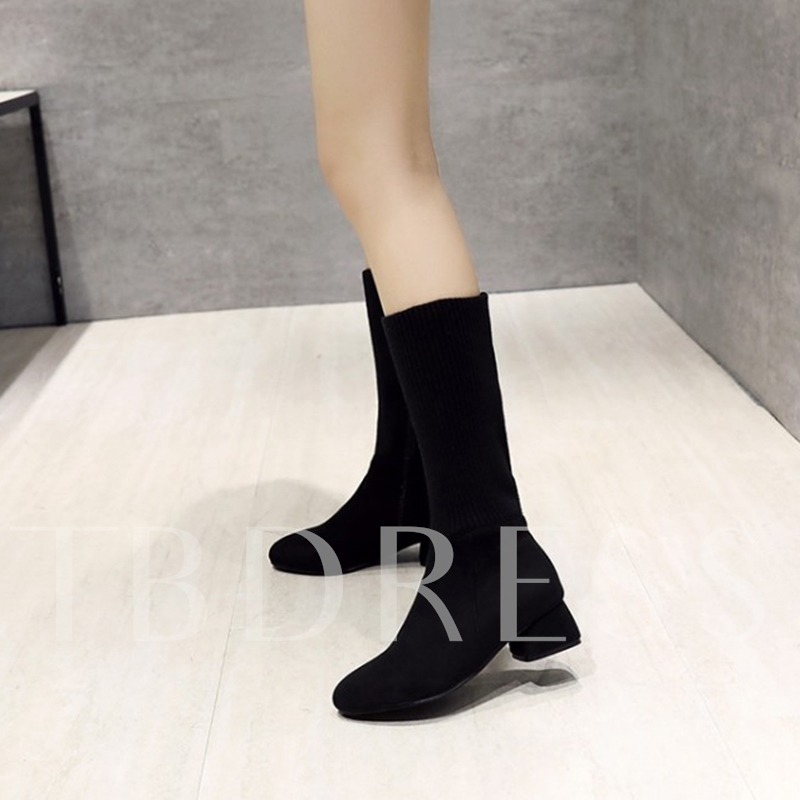 Solid Zipper Chunky Heel Women's Sock Boots