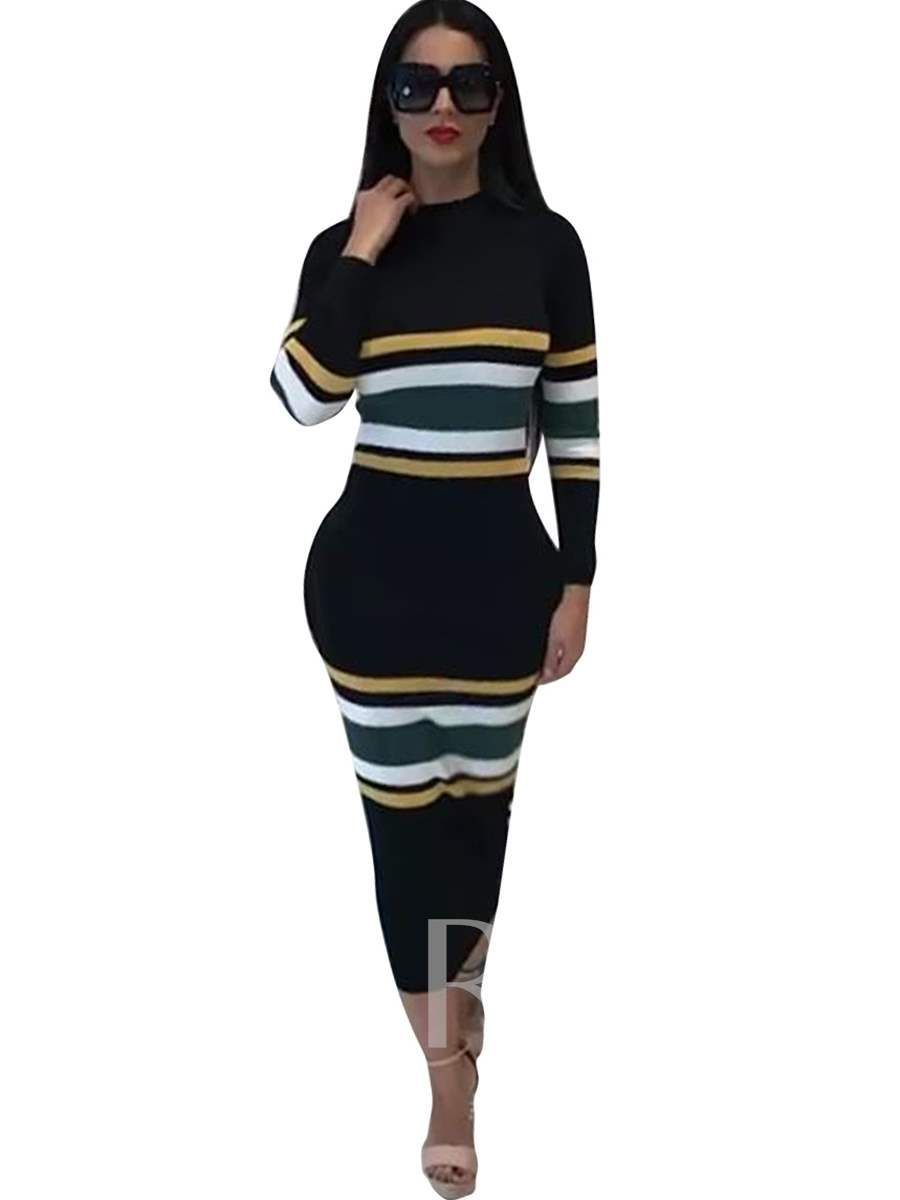 Buy Striped Long Sleeve Black Women's Sweater Dress, Spring,Fall,Winter, 13064864 for $24.99 in TBDress store