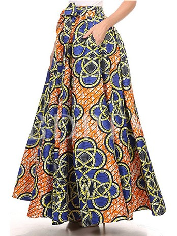 Geometric Print High Waisted Bowknot Women's Maxi Skirt