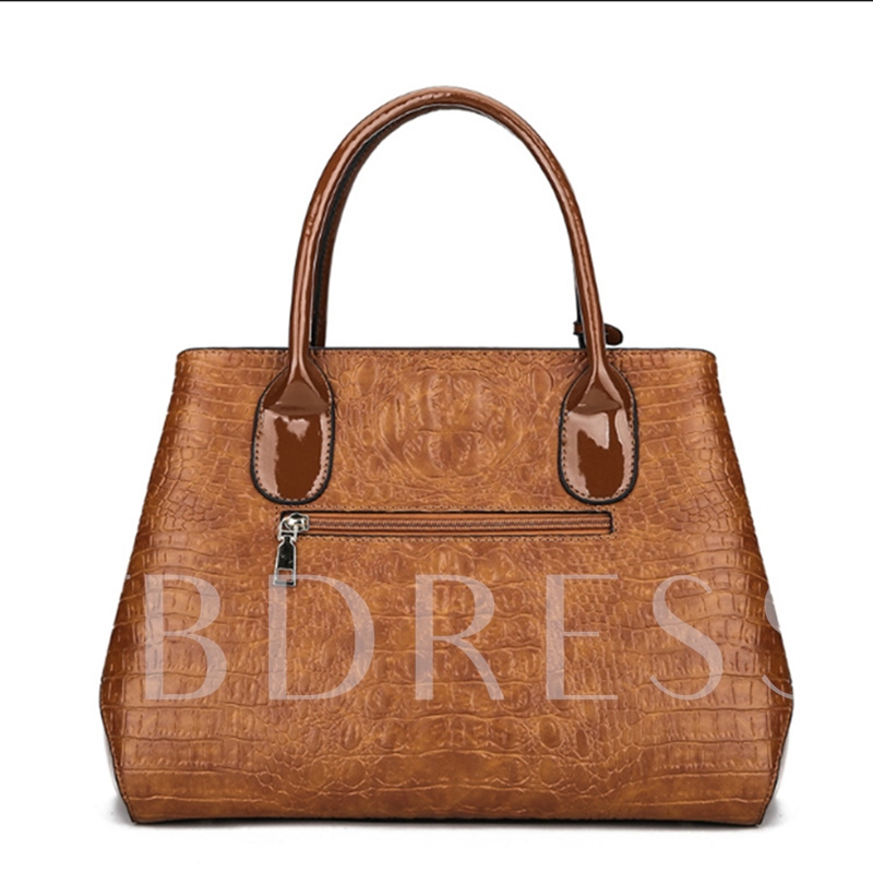 Solid Color Croco-Embossed Women PU Tote