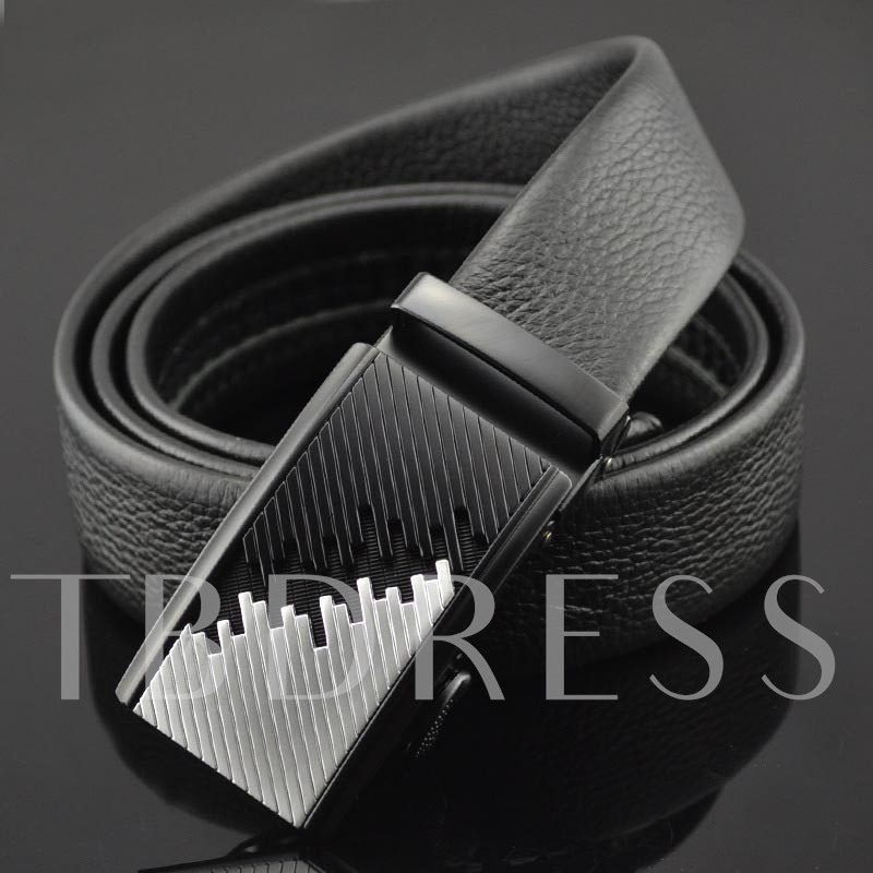 Embossed Artificial Leather Automatic Buckle Men's Belts