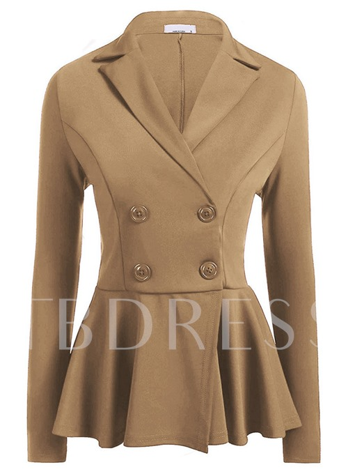 Double-Breasted Collect Waisted Plain Slim Fit Women's Blazer