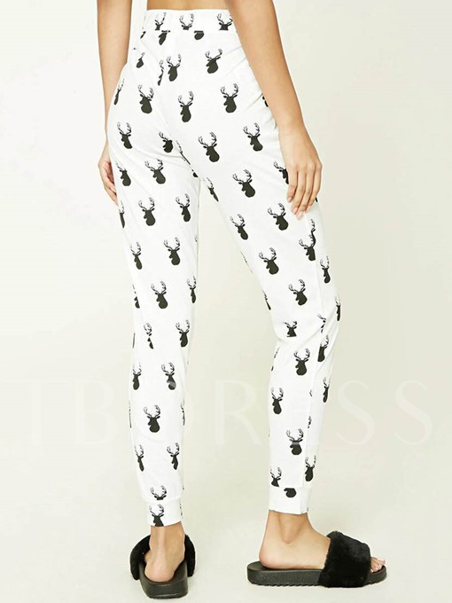 Christmas Deer Print Lace-Up Women's Leggings