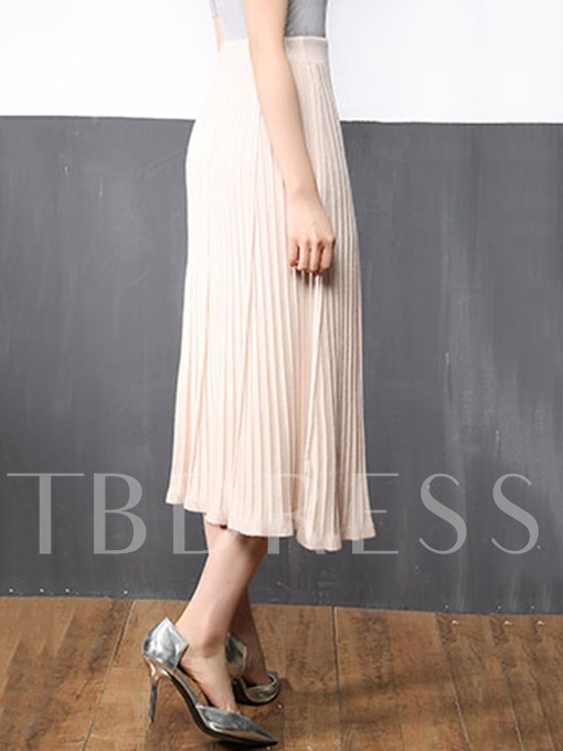 Slim Pleated A-Line Ankle-Length Women's Skirt
