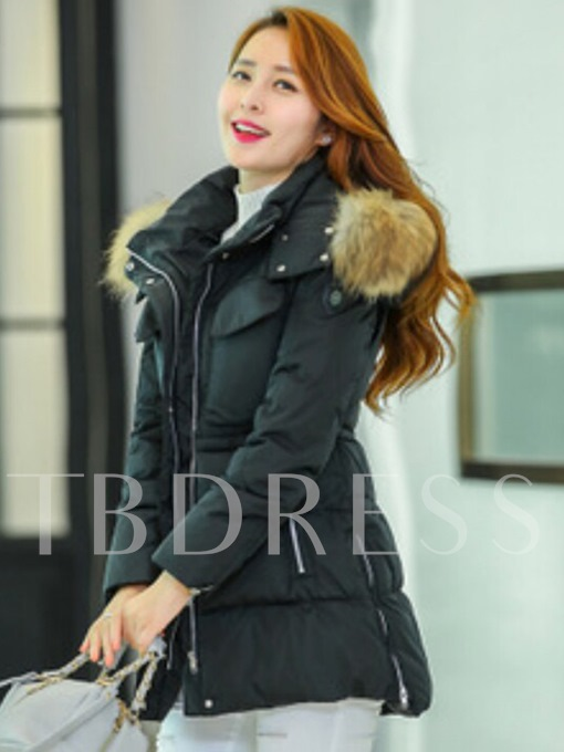 Faux Fur Hooded Plain Zipper Pocket Women's Winter Overcoat