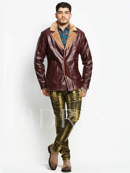 Lapel Fleece Solid Color Slim Men's Faux Leather Jacket
