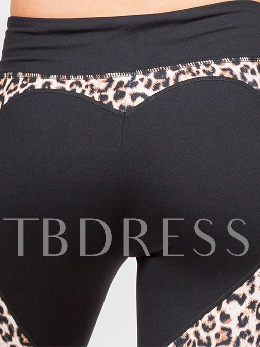 Heart-Shaped Leopard Print Patchwork Women's Leggings
