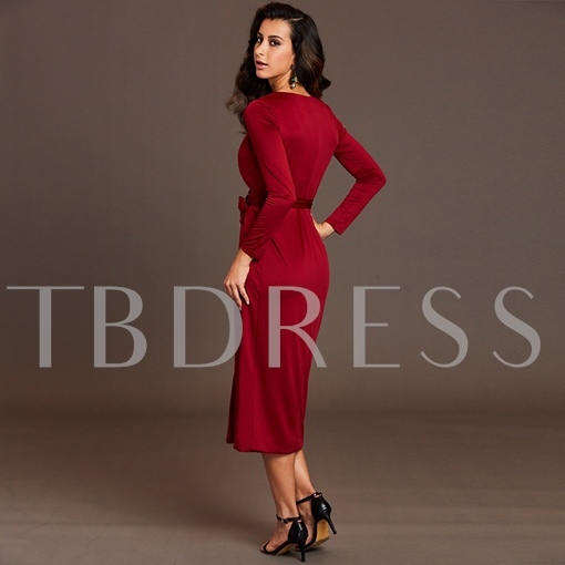 V-Neck Pleated Lace-Up Women's Day Dress