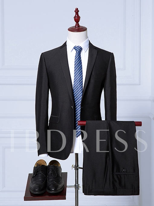 Notched Collar Plain Solid Color Slim Men's Dress Suit