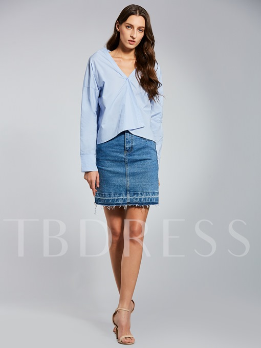 V-Neck Plain One Button Short Women's Shirt
