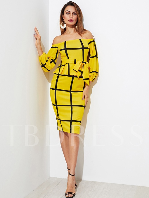 Yellow off Shoulder Lace up Women's Bodycon Dress