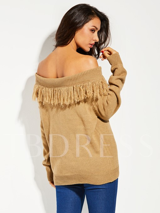 Slash Neck Tassel Patchwork Backless Vacation Women's Sweater