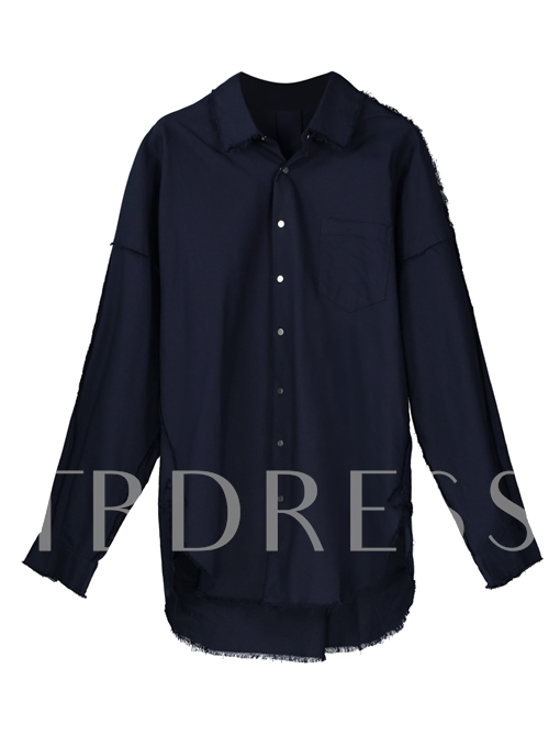Motor Style Lapel Single-Breasted Solid Color Loose Men's Shirt