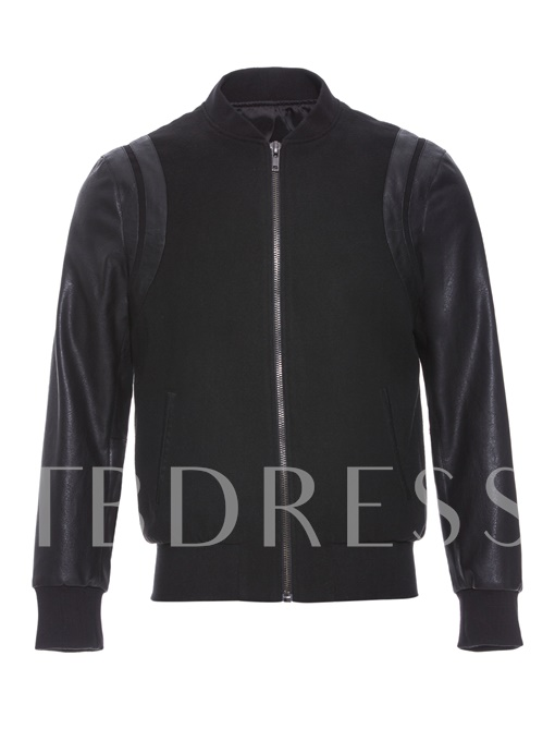 Motor Style Patchwork Zipper Slim Men's PU Jacket