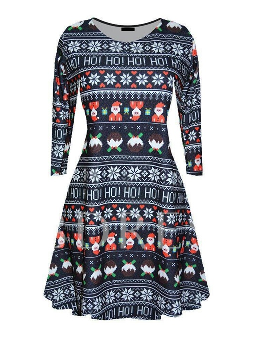 Christmas Pattern Long Sleeve Women's Day Dress
