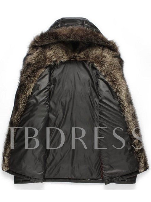 Faux Feather Collar Windbreak Solid Color Thicken Warm Slim Men's Winter Coat