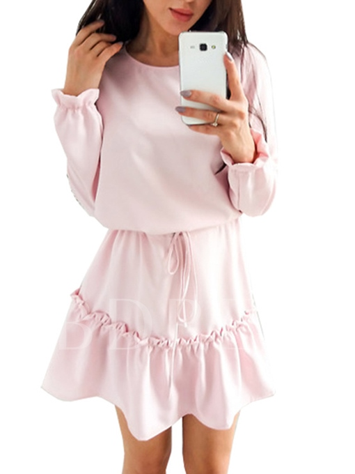 Plain Long Sleeve Lace up Women's Day Dress