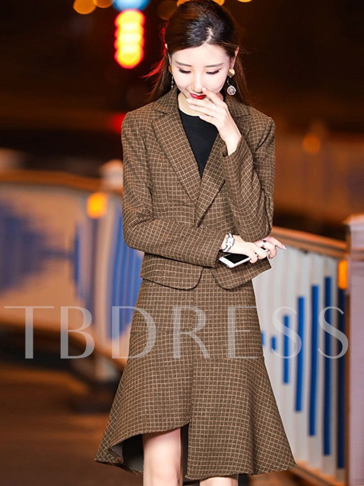 Plaid Women's Jacket And Fishtail Skirt Suit