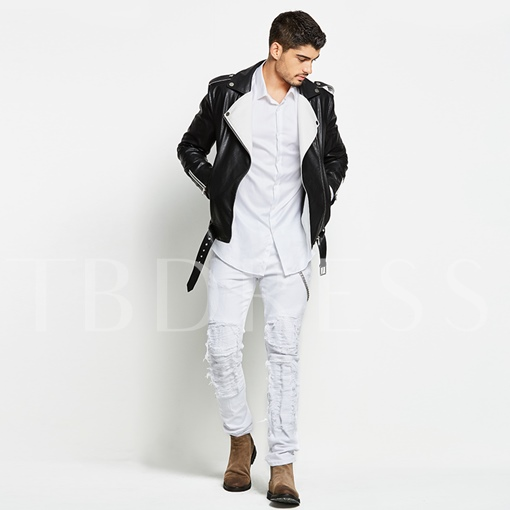 Motor Style Fleece Lapel Solid Color Men's PU Jacket