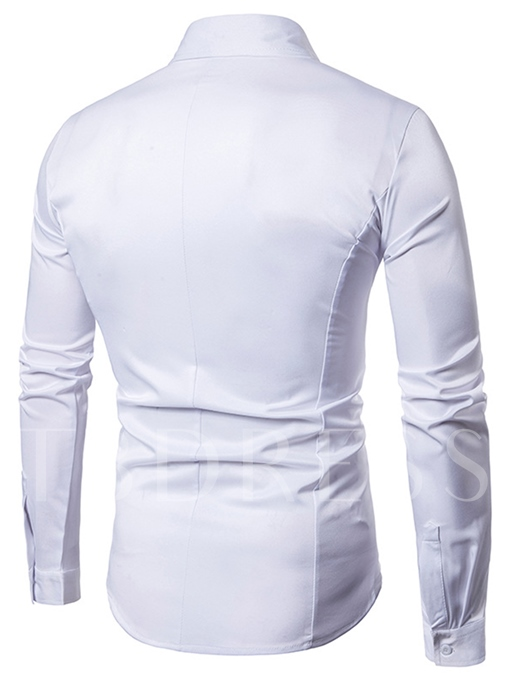 Lapel Fake Two Piece Solid Color Slim Fit Men's Casual Shirt