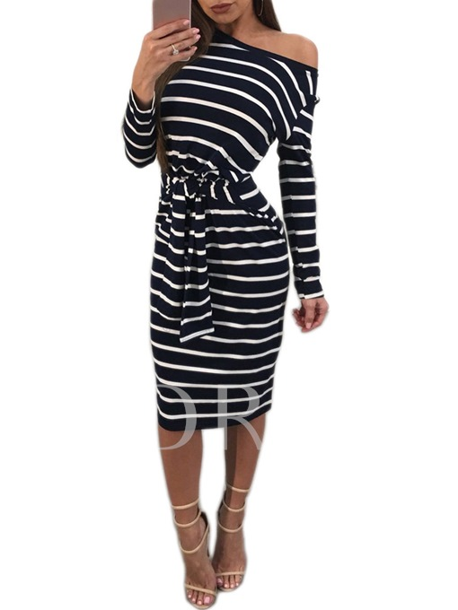 One Shoulder Striped Lace up Women's Bodycon Dress