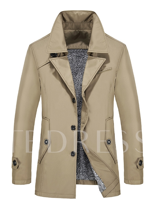 Notched Collar Fleece Solid Color Slim Fit Men's Trench Coat