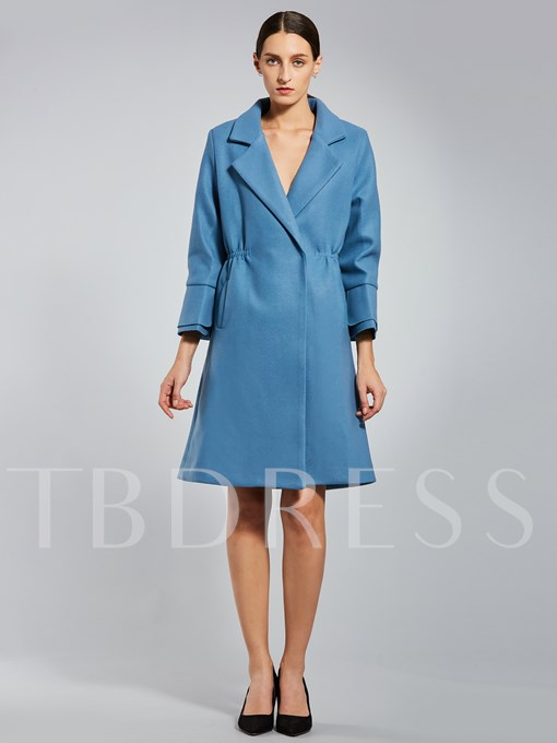 Flare Sleeve Notched Lapel Women's Overcoat