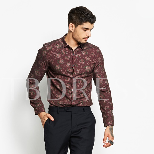 Lapel Floral Print Slim Men's Dress Shirt