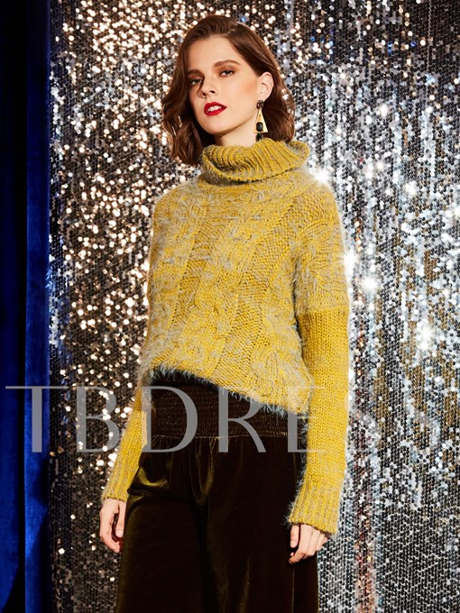 Turtleneck Solid Color Pullover Women's Sweater