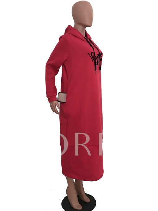 Pockets Long Sleeve Women's Hooded Dress