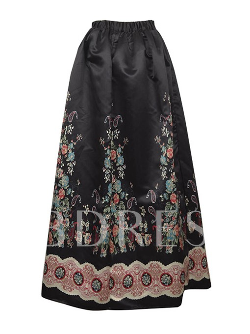 Floral Print Pleated Expansion Women's Long Skirt