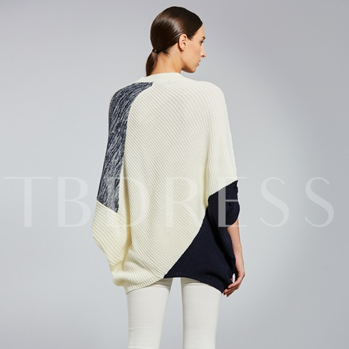 Color Block Batwing Sleeve Pullover Women's Sweater