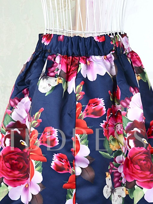 Floral Print Pleated A-Line Women's Long Skirt