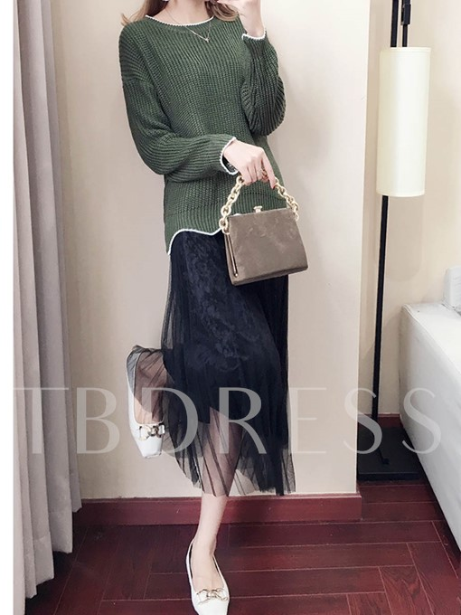 Long Sleeves Sweater Mid Calf Women's Skirt Suit