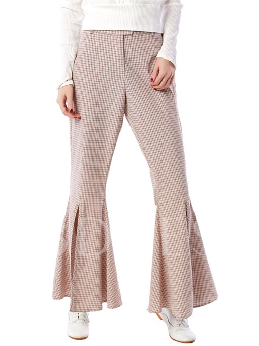 Plaid Print High Waisted Bellbottoms Women's Casual Pants