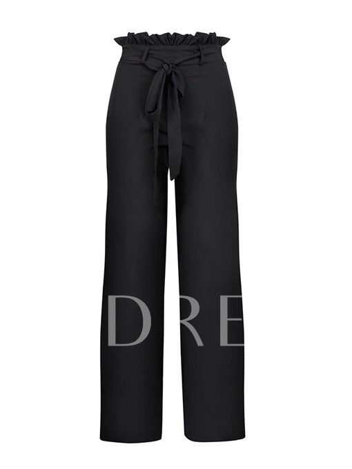 Pleated High Waist Lace-Up Women's Casual Pants