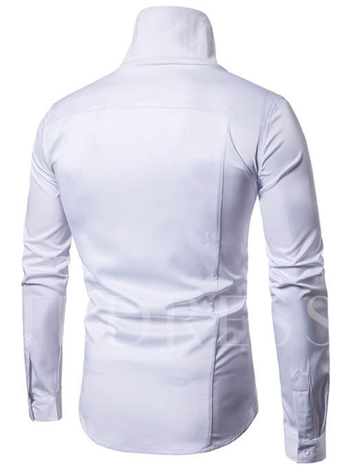 Gothic Designed Turtleneck Solid Color Slim Fit Men's Shirt
