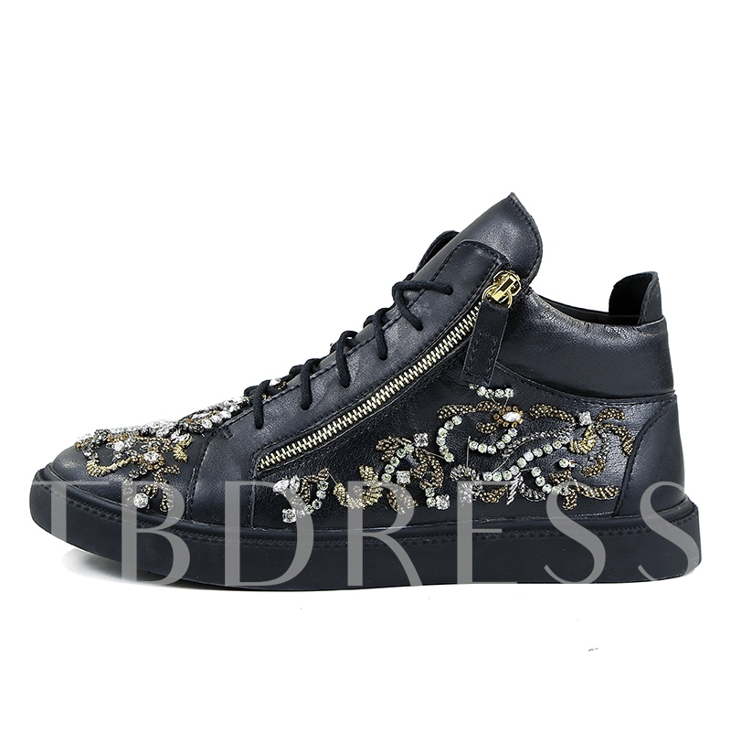 High Cut Shoes Rhinestone Men's Fashion Sneaker