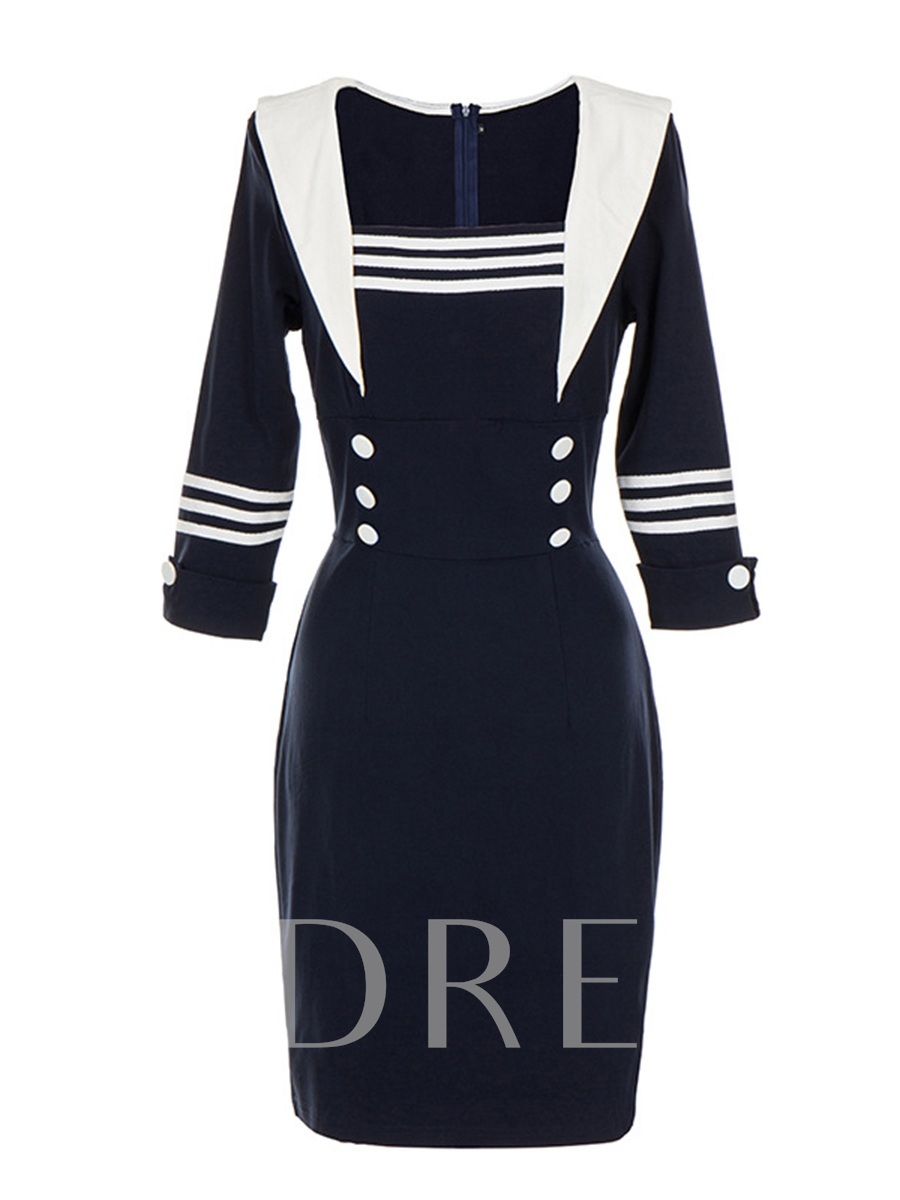 Buy Dark Blue Square Neck Double-Breasted Women's Bodycon Dress, Spring,Fall,Winter, 13070087 for $23.99 in TBDress store