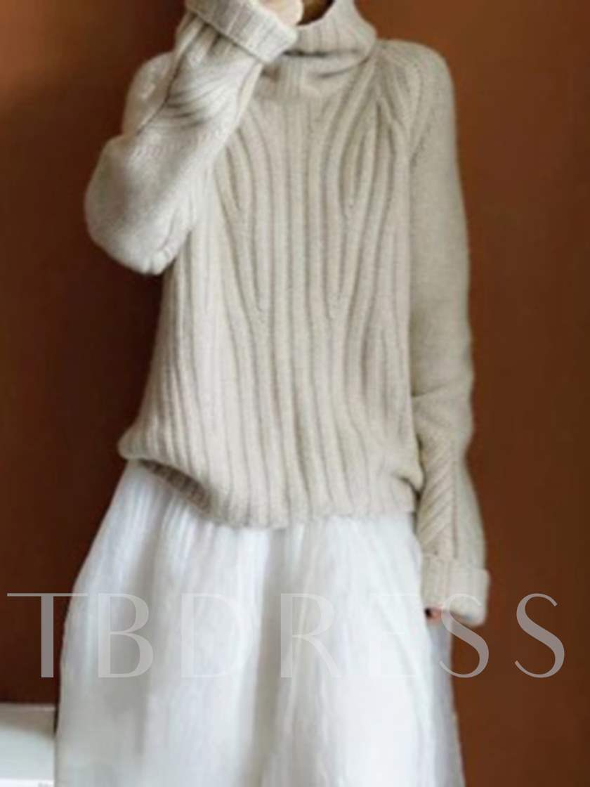 Plain Loose Turtleneck Women's Pullover Sweater