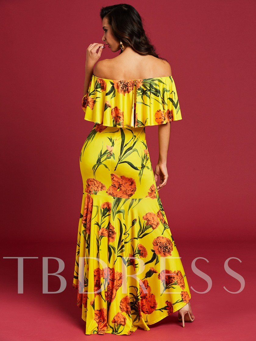Yellow Printing Asym Women's Maxi Dress